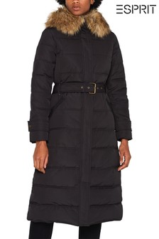 Esprit Black 3M™ Thinsulate™ Long Padded Jacket With Faux Fur Collar And Waist Band