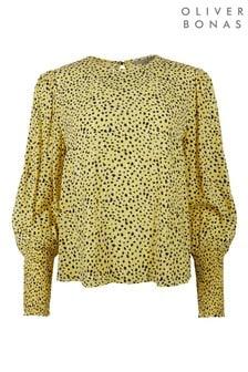 Oliver Bonas Yellow Spot Shirred Cuff Top