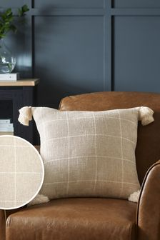 Natural Windowpane Check Cushion