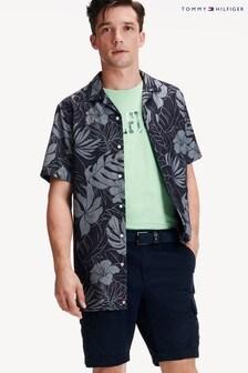 Tommy Hilfiger Blue Floral Jacquard Short Sleeve Shirt