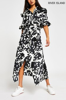 River Island White Animal Print Hanky Wrap Mid Dress