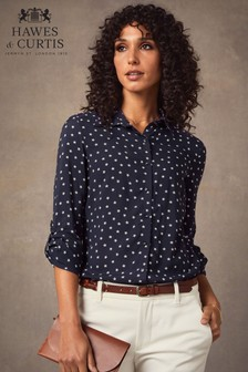 Hawes & Curtis Navy Star Print Relaxed Fit Shirt