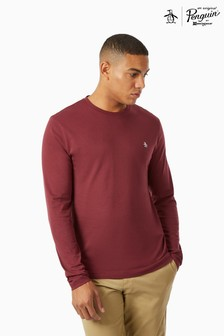Original Penguin® Long Sleeved Pinpoint T-Shirt With Embroidered Pete The Penguin Logo