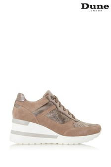 Dune London Brown Elouera Taupe Wedge Heel Leather Trainers