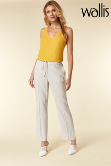 Wallis Stone Tie Front Linen Blend Trousers
