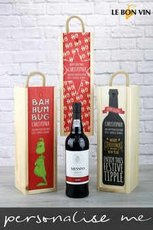 Personalised Ruby Port Wooden Gift Box by Le Bon Vin