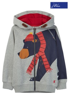 Joules Grey Seth Novelty Hooded Sweater