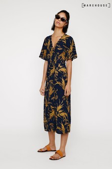 Warehouse Blue Leaf Side Button Midi Dress