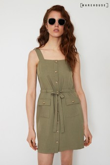 Warehouse Green Utility Mini Dress