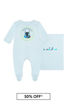 Karl Lagerfeld Baby Boys Blue Cotton Babygrow