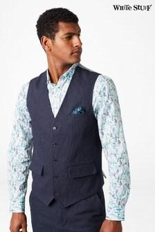 White Stuff Blue Davide Semi-Plain Waistcoat