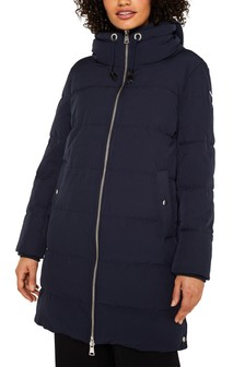 Esprit Blue Padded Coat With Button Details And High Neck