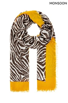 Monsoon Black Zia Zebra Border Lightweight Scarf