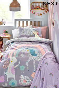 Purple 100% Cotton Ditsy Unicorn Reversible Duvet Cover and Pillowcase Set