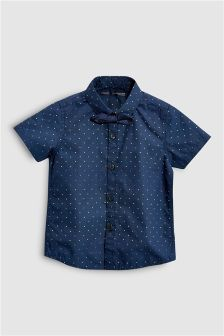 Spot Short Sleeve Shirt And Bow Tie (3mths-6yrs)