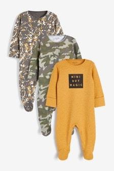 3 Pack Slogan Sleepsuits (0-2yrs)
