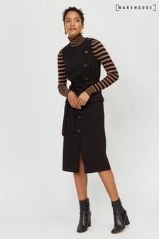 Czarna sukienka na guziki i bez rękawów, średniej długości Warehouse
