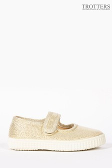 Trotters London Gold Martha Canvas Shoes