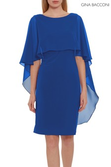 Gina Bacconi Blue Kaisa Dress With Chiffon Cape