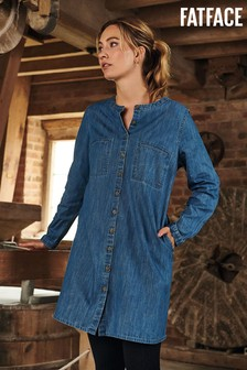 FatFace Blue Lissy Denim Shift Dress