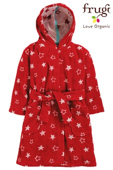 Frugi Organic Loop Back Dressing Gown In Red With Stars