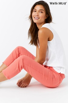 White Stuff Pink Southern Seas Straight Crop Trouser
