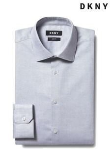 DKNY Grey Slim Fit Single Cuff Diamond Texture Shirt