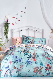Teal 100% Cotton Enchanted Forest Reversible Duvet Cover and Pillowcase Set