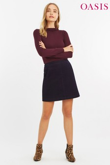 Oasis Navy Pocket Cord Skirt