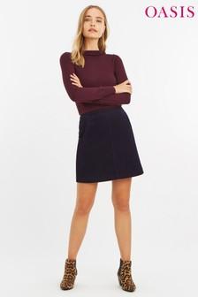 Oasis Navy Pocket Cord Skirt