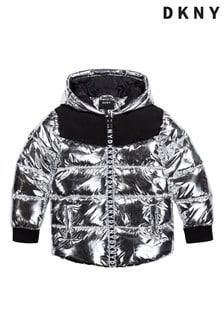 DKNY Silver Logo Hooded Puffer Jacket