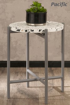Pacific White Terrazzo And Matt Grey Small Metal Table