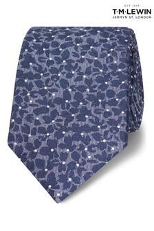 T.M. Lewin Blue Camo Floral Silk Slim Tie