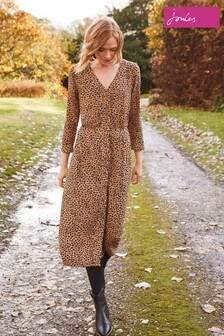 Joules Leopard Print V-Neck Button Through Dress