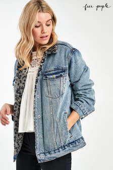 Free People Light Wash Sherpa Trucker Jacket
