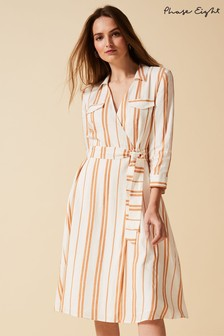 Phase Eight Yellow Zabel Stripe Shirt Dress