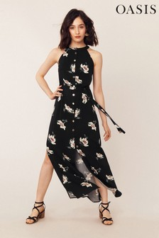 Oasis Black Ruby Floral Maxi Dress