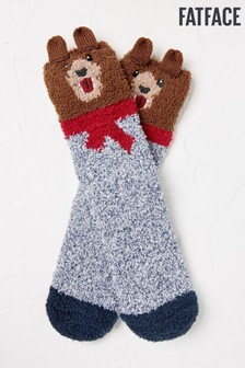 FatFace Brown Cosy Bear Socks
