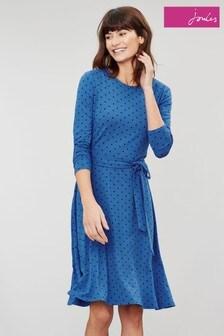 Joules Blue Monica Long Sleeve Waisted Jersey Dress