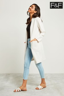F&F Neutral Crepe Patch Pocket Duster Jacket