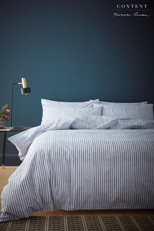 Chelsea Textured Stripe Duvet Cover and Pillowcase Set by Content by Terence Conran