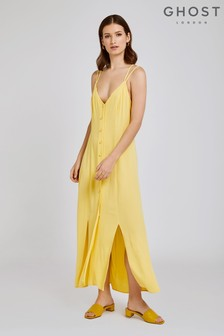 Ghost London Yellow Thea Crepe Dress