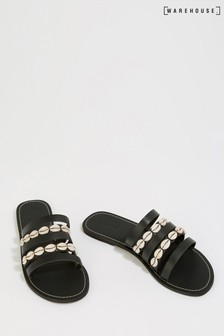Warehouse Black Shell Multi Strap Sandal