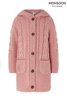 Monsoon Children Pink Amelie Longline Sparkle Cardigan