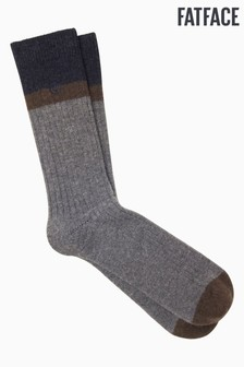 FatFace Navy Block Stripe Boot Socks