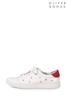 Oliver Bonas Embroidered Star White Leather Trainers