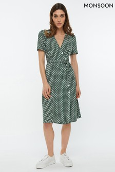 Monsoon Ladies Green Monica Print Button Midi Dress