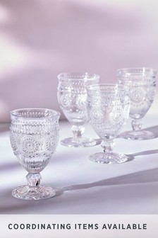 Amelie Embossed Set of 4 Wine Glasses