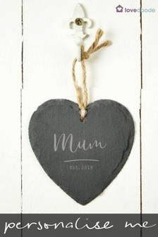 Personalised Mum Hanging Slate Heart by Loveabode