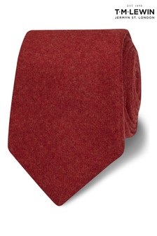 T.M. Lewin Barberis Red Flannel Wool Slim Tie